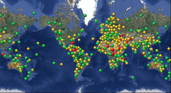 Mapa s místy a památkami zařazenými na seznam světového dědictví UNESCO (zdroj: tnooz.comú