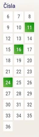 Číslo: Tipujete kombinace (součet) losovaného šestičíslí označené číslem. Můžete označit více možností.  Příklad: Pokud bude vylosováno 1, 2, 3, 4, 5 a 6, je výherní číslo 21 (součet).