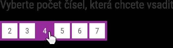 Na sázence jsou dvě hrací pole. Pro každé hrací pole nejprve zvolte, kolik čísel budete vybírat.