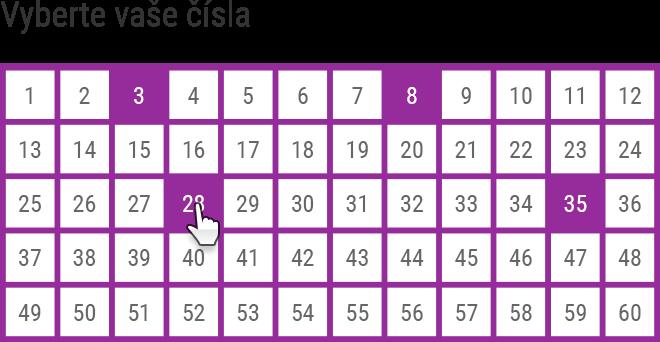 Vyberte zvolený počet čísel. Můžete vybrat jen část a zbytek doplnit náhodně.