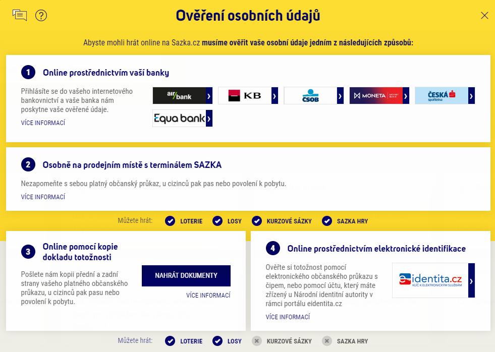 Stačí se přihlásit do svého účtu na Sazka.cz, v přehledu účtu zvolte Ověřit osobní údaje.