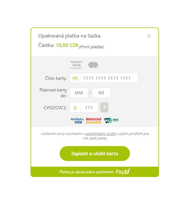 """Zadejte údaje o vaší platební kartě s potvrďte kliknutím na tlačítko """"Zaplatit a uložit kartu"""". Údaje o kartě jsou u nás v bezpečí a při příštím vkladu nebudete muset čísla znovu zadávat."""