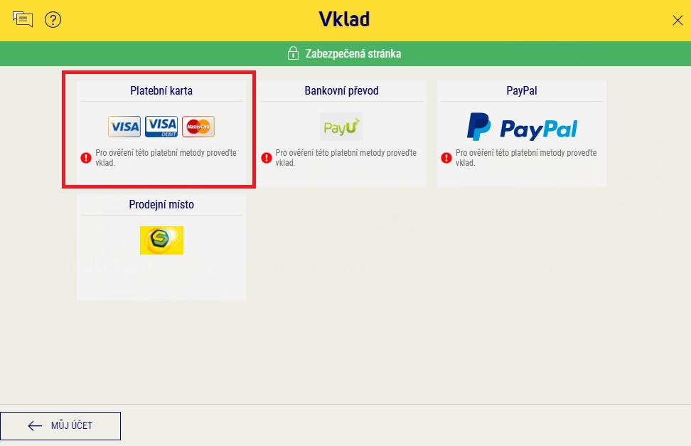 """V rozcestníku vyberte dlaždici """"Platební karta"""". Pamatujte, že na karta musí být vedena na vaše jméno a u své banky musíte mít povoleny platby na internetu."""