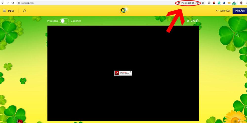 Vpravo nahoře v adresním řádku uvidíte ikonku, která vás informuje o tom, že plugin byl zablokován. Klikněte na ni.