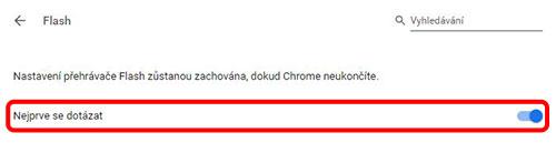 """Dostanete se na nastavení Flashe v Chrome. Klikněte na nastavení """"Blokovat webům spouštění obsahu Flash (doporučeno)"""". Tento text se pak změní na """"Nejprve se dotázat"""", jak vidíte na obrázku níže. Tuto stránku poté můžete zavřít."""