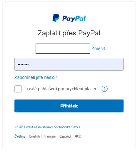 Zadejte heslo do PayPal.