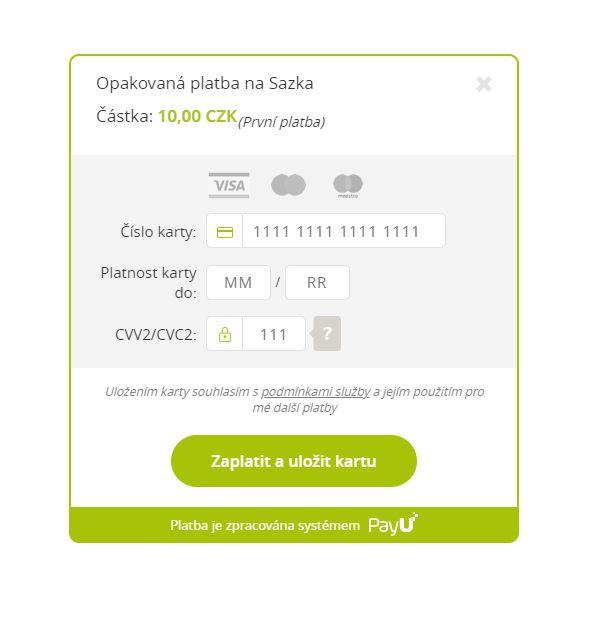 V novém okně se vám zobrazí stránka systému PayU, kde zadejte údaje o nové platební kartě. Pamatujte, že vklad se provede okamžitě, abychom ověřili, že zadané údaje jsou správné. Máte-li vyplněno, stiskněte Zaplatit a uložit kartu.