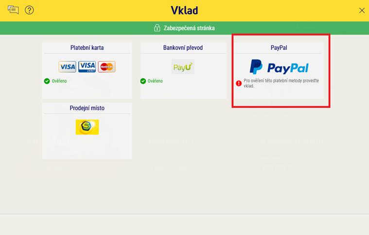 Vyberte vklad PayPal.