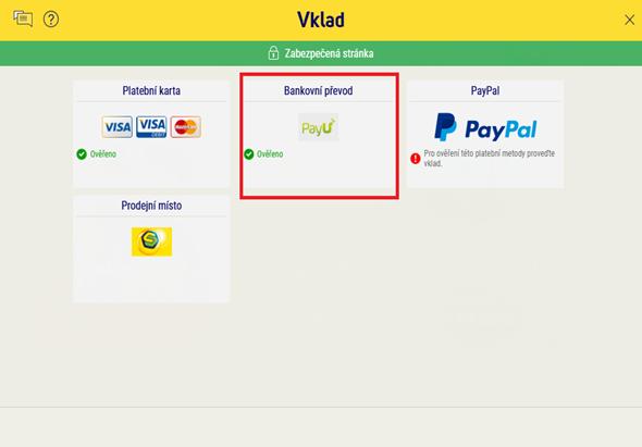 Vyberte vklad bankovním převodem. Posílat peníze je možné pouze z účtu vedeného na vaše jméno.
