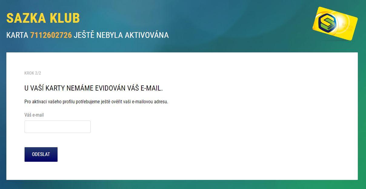 V dalším kroku vás vyzveme, abyste uvedli vaši e-mailovou adresu.