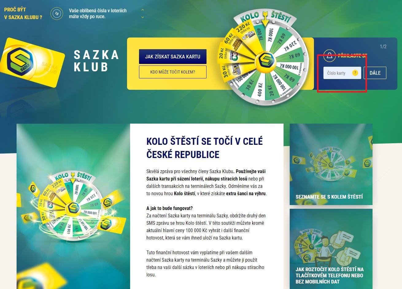 Do pole Přihlášení zadejte číslo Sazka karty a stiskněte DÁLE.