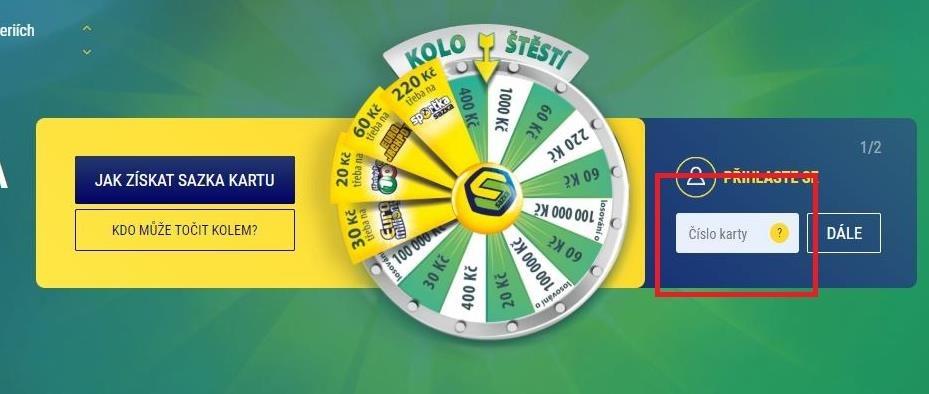 V pravém horním rohu na stránce www.sazkaklub.cz vyplňte číslo vaší žluté zákaznické karty (najdete ho na zadní straně pod čárovým kódem). Stiskněte DÁLE.