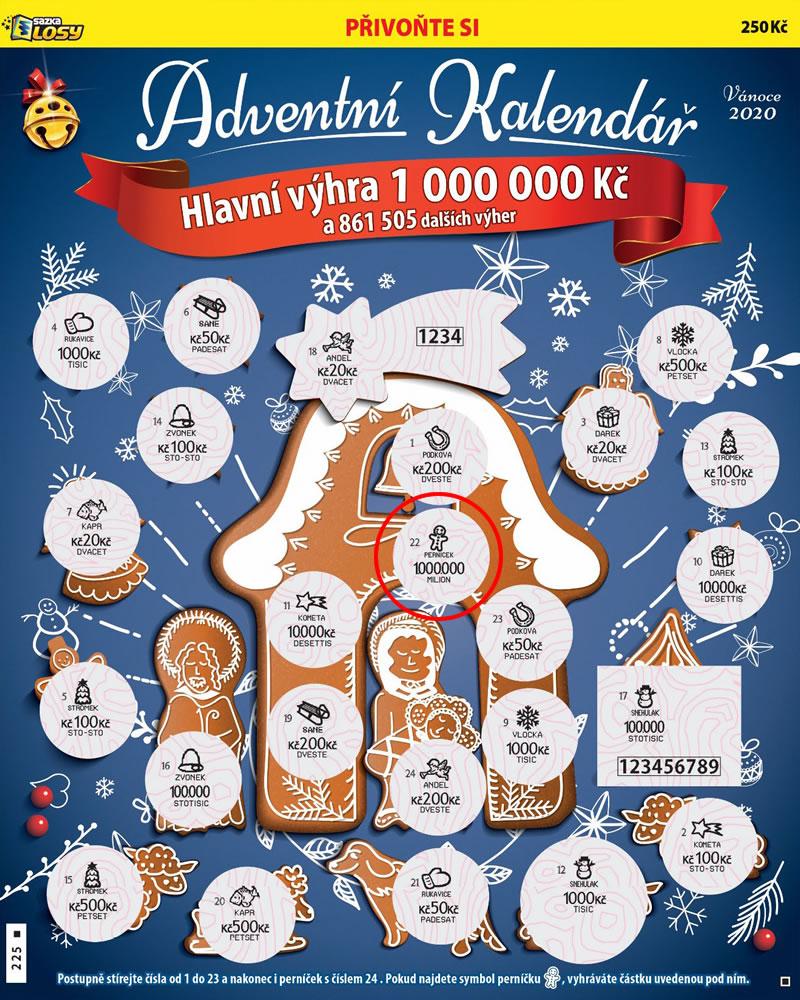 Adventní kalendář - náhled výherního losu