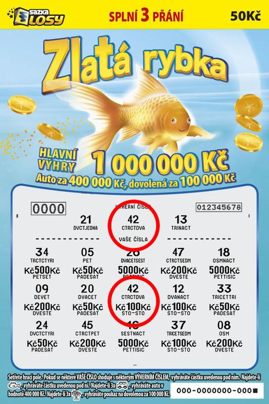 Zlatá rybka - náhled výherního losu